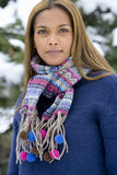 Portrait of young mixed race woman in winter clothing Stock Images