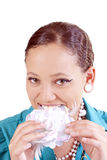Portrait young mixed woman biting cloth flower Stock Photos