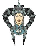 Portrait of the young Mongolian girl in a national headdress. Vector illustration isolated on a white background. Print, posters, t-shirt, textiles Stock Image