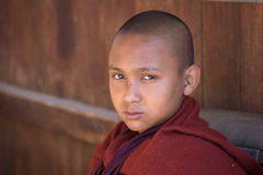 Portrait young monk in a monastery. Inle lake, Myanmar Royalty Free Stock Photography