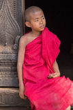 Portrait of a young monk in a monastery. Mandalay, Myanmar Royalty Free Stock Photo