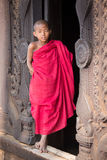 Portrait of a young monk in a monastery. Mandalay, Myanmar Royalty Free Stock Photos