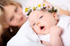 Portrait of a young mother and baby Stock Image