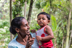 Portrait of young mother and baby in Sri Lanka Stock Image