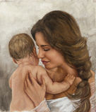 Portrait of a young mother and her child Stock Images