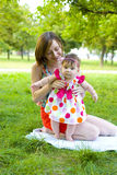 Portrait of a young mother with her daughter Royalty Free Stock Photography