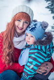Portrait of young mother and little toddler boy Stock Photos