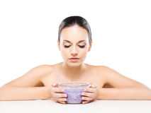 Portrait of a young and naked Caucasian woman with healthy salt Royalty Free Stock Image