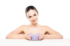 Portrait of a young and naked Caucasian woman with healthy salt Royalty Free Stock Images