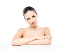 Portrait of a young naked woman isolated on white Stock Photo