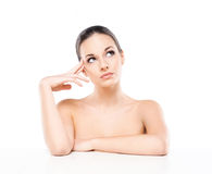 Portrait of a young naked woman with a white banner Stock Photography