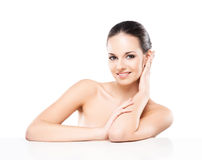 Portrait of a young naked woman with a white banner Stock Photos