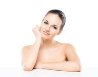 Portrait of a young naked woman  on white Royalty Free Stock Photo