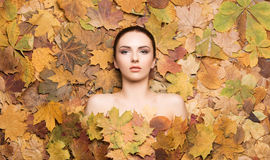 Portrait of young, natural and healthy woman over autumn backgro. Und. Healthcare, spa, makeup and face lifting concept Royalty Free Stock Image