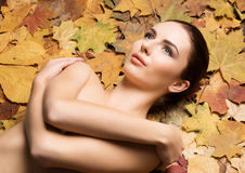 Portrait of young, natural and healthy woman over autumn backgro. Und. Healthcare, spa, makeup and face lifting concept Stock Photos