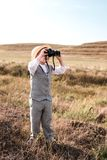 Portrait of young nature explorer in retro style. stock photos