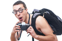 Portrait of a young nerd with old fashioned camera Stock Photo