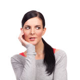 Portrait of young nervous woman. Isolated on white background Royalty Free Stock Photo