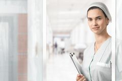 Portrait of young nurse at hospital Stock Photography