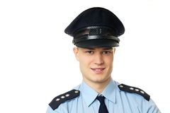Portrait of young policeman. Left you can write some text stock photos