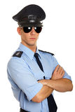 Portrait of young policeman. On white background stock photography