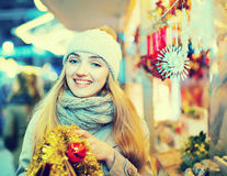 Portrait of young positive cheerful happy woman at Christmas fa royalty free stock photos