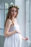 Portrait of the young pregnant woman Royalty Free Stock Photo