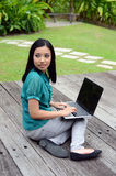 Portrait young pretty Asian muslim college girl with laptop and smile Royalty Free Stock Photography