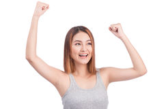Portrait of young pretty asian woman hands up raised arms, screa Royalty Free Stock Photography