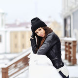 Portrait of young pretty beautiful woman in cold winter weather Royalty Free Stock Photos