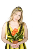 Portrait of young pretty easter woman with flowers Royalty Free Stock Photo