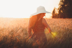 Portrait of young pretty girl dressed in bright hat Royalty Free Stock Photography