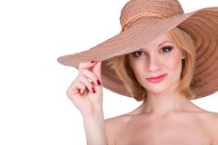 Portrait of young pretty girl in elegant hat Stock Image