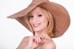 Portrait of young pretty girl in elegant hat Stock Images