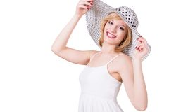 Portrait of young pretty girl in elegant hat Royalty Free Stock Photo