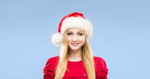 Portrait of young and pretty girl. New year and Christmas concept. stock photo