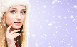 Portrait of young and pretty girl. New year and Christmas concept. stock photos