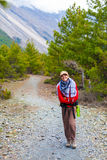 Portrait Young Pretty Girl Wearing Red Jacket Backpack Trail Mountains.Mountain Trekking Landscape Hikking Path View Stock Photography