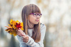 Portrait of a young pretty girl who was cheerfully playing with autumn maple leaves.Girl sitting on colorful autumn leaves. Stock Photos