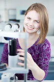 Portrait of a young pretty optometrist Royalty Free Stock Images