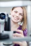 Portrait of a young pretty optometrist Stock Image