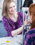 Portrait of a young pretty optometrist Stock Photo