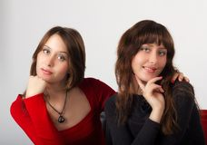 Portrait of young pretty sisters twins Royalty Free Stock Photography