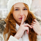 Portrait of young pretty woman. In winter park stock photo