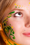 Portrait of young pretty woman with body painting Royalty Free Stock Images