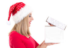 Portrait of young pretty woman with Christmas present isolated o Stock Image