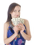 Portrait of young pretty woman with dollars Royalty Free Stock Photo