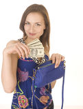 Portrait of young pretty woman with dollars Royalty Free Stock Photography