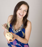 Portrait of young pretty woman with dollars Stock Images