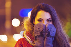 Portrait of young pretty woman outdoor in wintertime Royalty Free Stock Image